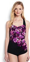 Lands' End Women's Petite Slender Tunic One Piece Swimsuit-Black Mum Cascade