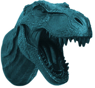 White Faux Taxidermy Faux Resin T-Rex Head Wall Mount, Petrol