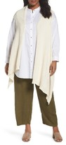 Eileen Fisher Plus Size Women's Cotton Blend Knit Asymmetrical Wrap
