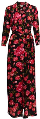 L'Agence Cameron Floral Long Silk Shirtdress
