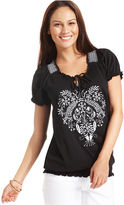 Style&Co. Top, Short-Sleeve Embroidered Smocked Peasant