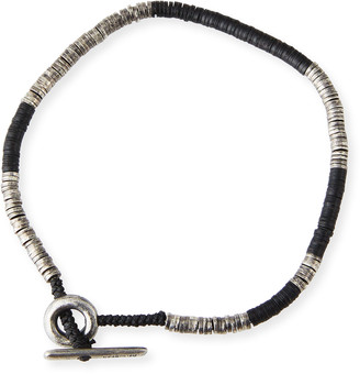 M. Cohen Men's Stacked Bead & Sterling Silver Disc Bracelet, Black