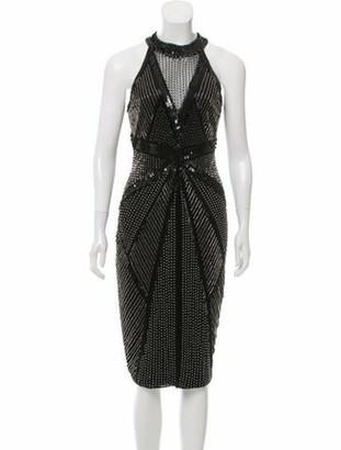 Rachel Gilbert Embellished Cocktail Dress Black
