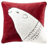 "Nobrand No Brand Red Blissful Holiday Bear Square Pillow (20""x20"")"