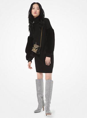 Michael Kors Wool-Blend Faux Fur-Sleeve Sweater Dress