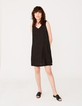 Yerse - Black V Neck Sleeveless Dress - small - Black