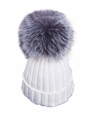 Springcmy Women Winter Knitted Beanie Bobble Ski Hat Cap Large Ball Hat Fox Fur Pom Thick Slouchy Skull Cap (A Pink One Size)