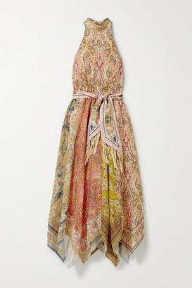 Zimmermann Freja Paisley-print Linen Halterneck Midi Dress - Light brown