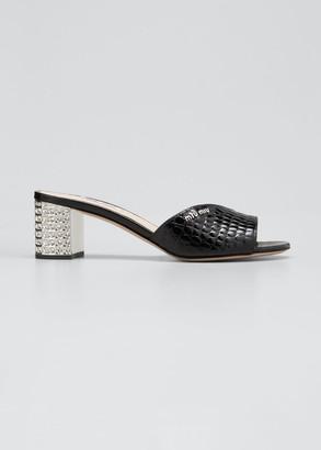 Miu Miu 55mm Mock-Croc Embellished Slide Sandals