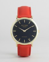 Reclaimed Vintage Inspired Red Leather Watch With Gold Case
