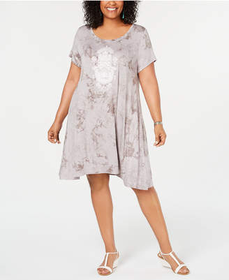 Style&Co. Style & Co Plus Size Tie-Dyed Wash Graphic T-Shirt Dress
