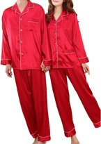 Coolmee Women's Long Sleeve Charmeuse Pajama Sets Noble Thin nightgown M