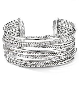 David Yurman Sterling Silver Crossover Cuff Bracelet with Diamonds