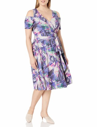 Unknown MYNT 1972 Women's Plus Size Cold Shoulder Floral Print Wrap Dress