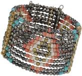 Apricot Multi-Coloured Tribal Beaded Pattern Cuff Bracelet