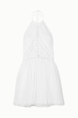 Charo Ruiz Ibiza Kim Halterneck Crocheted Lace-paneled Cotton-blend Mini Dress - White