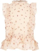 River Island Girls Cream floral print high neck frill top