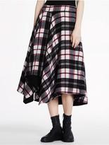 CK Calvin Klein Lightweight Wool Cashmere Plaid Long Skirt