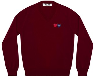 Comme des Garcons Double Heart Play V-Neck Sweater