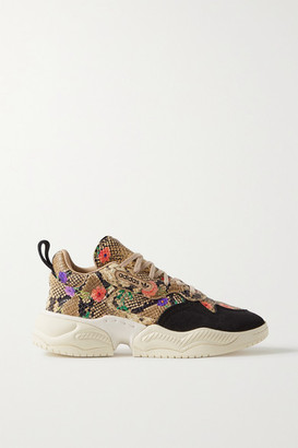 adidas Supercourt Suede-trimmed Floral-print Snake-effect Leather Sneakers - Snake print