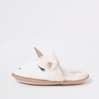 River Island Girls Pink unicorn glitter slipper