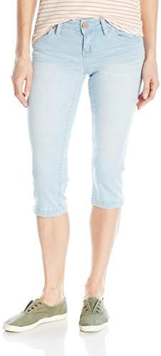 YMI Jeanswear Women's Wannabettabutt Single Button Side Slit Capri
