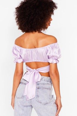 Nasty Gal Womens Make Your Smooth Off-the-Shoulder Crop Top - Lilac