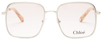 Chloé Bonnie Oversized Square Semi-tinted Glasses - Womens - Rose Gold