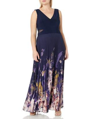 Xscape Evenings Women's Plus Size Long Chiffon Floral Pleat with Ity Top
