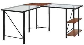 Room & Joy Ember Glass Top L Desk Cherry/Black - Room & Joy