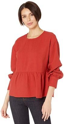 Madewell Gauze Button-Back Peplum Top (Etruscan Clay) Women's Clothing