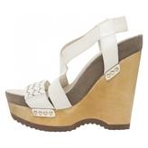 BCBGMAXAZRIA White Leather Sandals