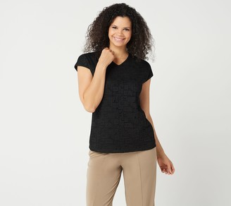Susan Graver Liquid Knit Extended Cap Sleeve Top with Lace Front