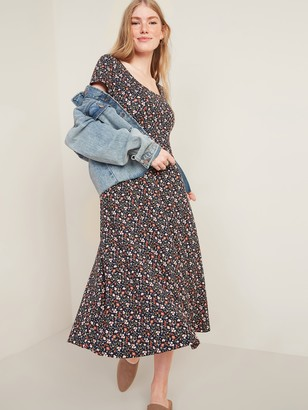Old Navy Jersey-Knit Scoop-Neck Fit & Flare Midi Dress for Women