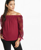 Express off the shoulder lace tie sleeve blouse