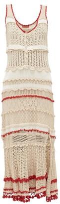 Altuzarra Herrick Frilled Cotton-crochet Dress - Womens - Beige