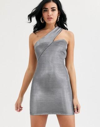 ASOS DESIGN asymmetric metallic one shoulder mini dress