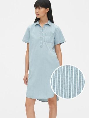 Gap Perfect Stripe Denim Popover Shirtdress