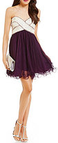 Blondie Nites Strapless Sequin Embellished Wrap Bodice Swing Party Dress