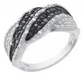 Paradise Jewelers Women's 0.66 CTW B&W Diamond 14K White Gold-Plated Sterling Twisty Band, Size 7