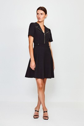 Karen Millen Zip Placket Short Sleeve A-Line Dress