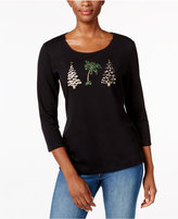 Karen Scott Petite Holiday Tree Graphic Top, Only at Macy's
