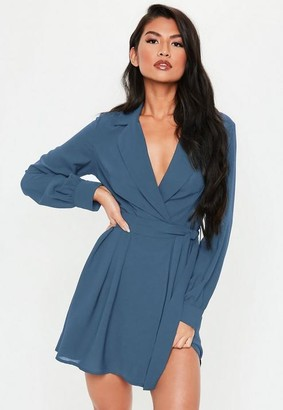 Missguided Belted Waist Pleated Skater Dress