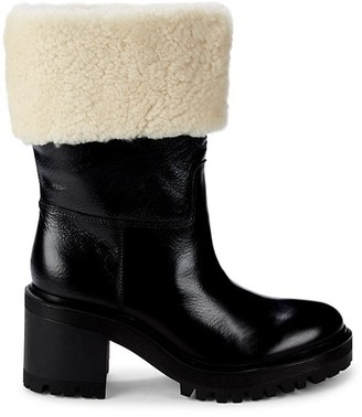 Marc Fisher Shearling-Trim Suede Boots