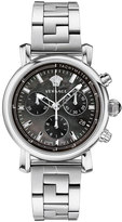 Versace 38mm Day Glam Stainless Steel Chronograph Watch, Silver/Black