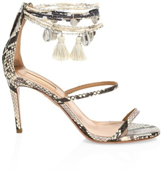 Aquazzura India Embellished Snakeskin-Embossed Leather Sandals