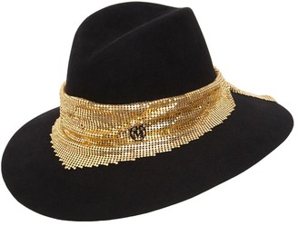 Maison Michel Kate Felt Hat W/ Chain Mesh