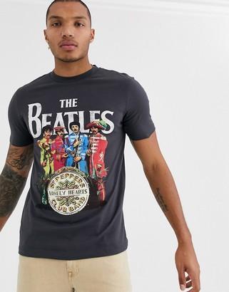 Asos Design DESIGN Beatles t-shirt with large chest print-Grey