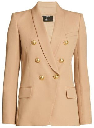 Balmain Grain De Poudre Oversized Wool Jacket