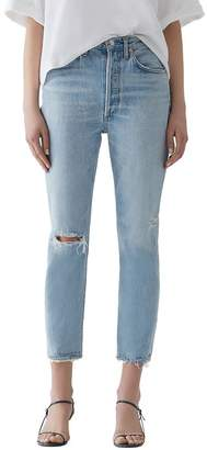 A Gold E AGOLDE Riley High Rise Cropped Straight-Leg Jeans in Shatter